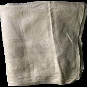 Fine damask napkin 1826. Georgian. English . Initials GS.12. Horse and oak leaves.