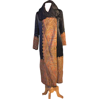 Early 1920's silk coat with Paisley shawl detail.