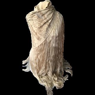 Maria Gallenga . Venice. Italy circa 1915. Hand stencilled cereal silk shawl. Signed.