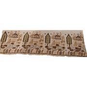 Mid 19 th century Turkish embroidered towel. Linen, beautiful metallic embroidery trees and houses.