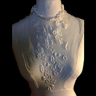 Early 19 th century hand tamboured net chemisette. English