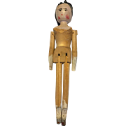 19 th century German jointed wooden doll .7 inches in height.