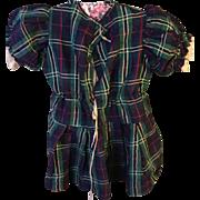 1860's Childs tartan day dress.