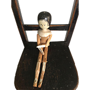 19 th century German Grodnertahl jointed wooden doll.