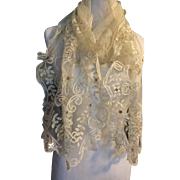 Circa 1900. Wedding lace stole. Pretty with hand tamboured detail .