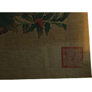 Early 20 th century Chinese hand painted onto silk panel .beautuful painting and artists stamp.