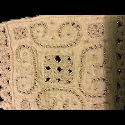 Early 16 th century Italian reticella cut work linen panel. Small.