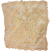 mid 16 th century lacis ,filet lace  tiny panel . Italian.  Tiny stitches.