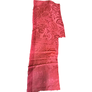 18 th century silk brocade fragment. Beautiful raspberry red. English