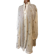 Circa 1800. Regency men's robe or kaftan . Turkish but possibly made for the European market.muslin and gold metallic thread embroidery.