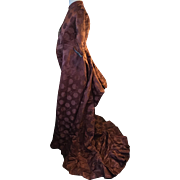 1870's silk gown. Terracotta brocade. Unaltered condition. Beautiful silk fabric. English.
