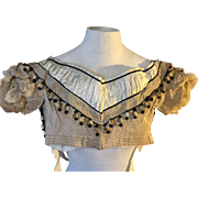 1840's silk bodice. English . Striped silk with Pom Pom decoration.