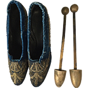 1920's Cobalt blue velvet and metallic embroidered shoes.