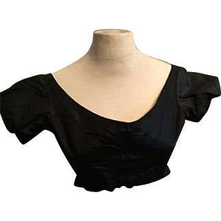 Early 19 th century black silk bodice. Good for copying the pattern. English