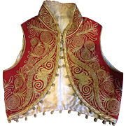 19 th century Ottoman waistcoat in red wool with gold thread embroidery. Turkish.