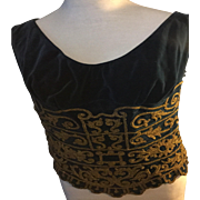 1920's theatrical costume tunic by Motley. St Martins Lane.WC2. London. Elaborate embroidery. Velvet and couched gold thread.