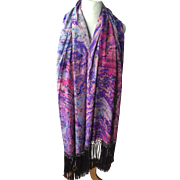 1920's marbled silk shawl in perfect condition. Pinks and purples.