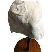 Early 19 th century child's bonnet .fine cotton . Beautiful needlelace insert on rim.English.