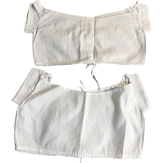 2 child's bodices. Cotton handmade. Dated 1869. With owners initial F.