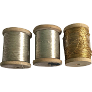 3 metallic thread wooden spools. circa 1900. English