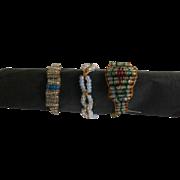 3 Georgian beadwork rings.Very unusual. English.