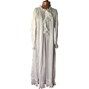 19 th century ladies cotton lawn nightgown . Hand stitched, lace detail.