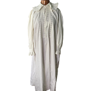 Mid 19 th century men's nightgown . Cotton , hand sewn and embroidered.English.