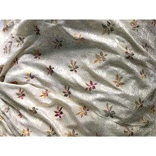 Early 19 th century silk fabric with hand embroidered motifs. India for European market.