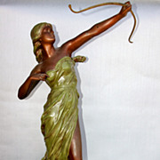 Goddess Diana Cast Bronze Statue Mid 1800s - Signed by Artist J. Causse