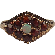 9ct Yellow Gold Opal & Garnet Ring UK Size M+ US 6 ½