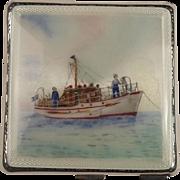 1956 Silver & Enamel Shipping Ladies Compact