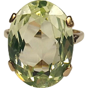 9ct Yellow Gold Green Citrine Ring UK Size L US 6 ¼