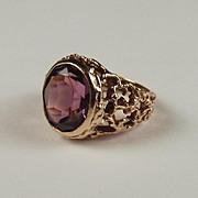 1970 9ct Yellow Gold & Purple Glass Ring UK Size J US 4 ¾