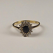9ct Yellow Gold Sapphire & Cubic Zirconia Flower Head Ring UK Size P+ US 7 ½