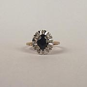 9ct Yellow Gold Sapphire & Diamond Ring UK Size P US 7 ½