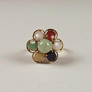14ct Yellow Gold Jade & Agate Flower Head Ring UK Size M+ US 6 ¼