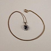 9ct Yellow Gold Necklace With Sapphire And Diamond Pendant