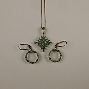 Gold Plated Emerald & Topaz Earrings And Pendant Necklace Set