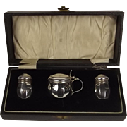 Boxed Silver Three Piece Cruet Set 1932