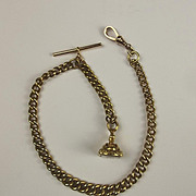 9ct Yellow Gold Albert Watch Chain With Seal Stamp Fob