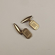 Pair Of 9ct Yellow Gold Etched Cufflinks
