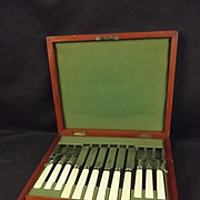 Early 20th Century Cased Silver Set Of Salad Or Dessert Cutlery
