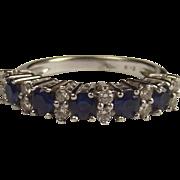 18ct White Gold Sapphire & Diamond Ring UK Size P US 7 ½