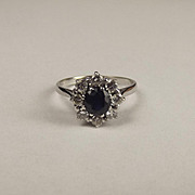 18ct White Gold Sapphire & Diamond Flower Head Ring UK Size P+ US 7 ¾