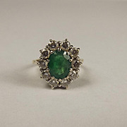 18ct Yellow Gold Emerald & Diamond Flower Head Ring UK Size L+ US 6