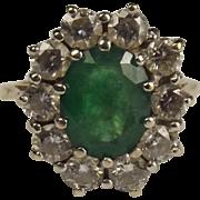 18ct Yellow Gold Emerald & Diamond Flower Head Ring UK Size L+ US 6