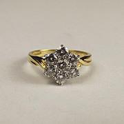 18ct Yellow Gold 1.0CTW Diamond Flower Head Ring UK Size P+ US 7 ¾