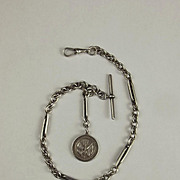 Silver Albert Watch Chain With Battle Of Jutland Fob