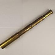Circa 1920 Three Draw 15X Britannic Brass Pocket Telescope