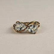 9ct Yellow Gold Aquamarine & Diamond Ring UK Size N+ US 7